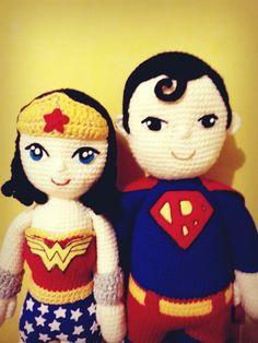 superman wonder woman amigurumi #superman #wonderwoman #mujermaravilla…