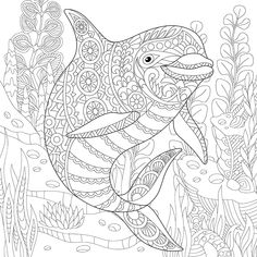 Coloring Pages for adults. Ocean World. Turtle. Underwater colouring ...