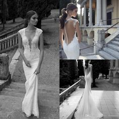Berta Winter 2014 Lace Sheer Wedding Dresses Deep V Neck Illusion Back Covered Button Mermaid Court Train Wedding Bridal Dresses Gowns Online with $143.69/Piece on Crazy_dresses's Store | DHgate.com