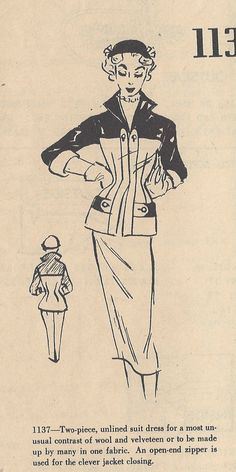1950s Vintage Sewing Pattern TWO-PIECE SUIT Dress B32