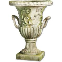 Entryway Garden Urn with Handles in White Moss