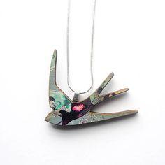 Blaue Schwalbe Halskette Schwalbe Schmuck Vogel Halskette