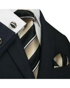 TheDapperTie - New Men's Coffee Brown & Black Stripes Silk Tie Set 49m $39.99