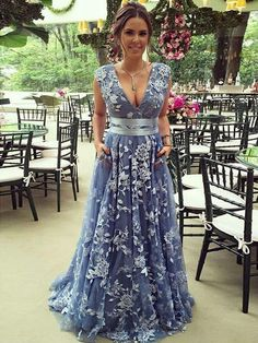 A-Line evening dress ,Deep V-Neck party gowns ,Sweep Train prom gowns, Blue Lace Prom Dress with Belt Blue Lace Prom Dress, Tulle Prom Dress, African Prom Dresses, V Neck Prom Dresses, Wedding Dresses, A Line Evening Dress, Evening Dresses, Applique Dress, Party Gowns