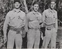 These three Marine aviators were responsible for shooting down 46 Japanese fighters over Guadalcanal. From left to right: Major John L. Smith, Major Robert D. Galer, and Captain Marion E. Carl pose for a photo after being awarded Navy Crosses for their actions. Major Smith and Major Galor would later be awarded the Medal of Honor. All 3 survived the war. In 1998, Capt. Carl was shot with a shotgun while trying to defend his wife from an intruder. He was 82. He was buried with full military…