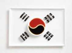 south korea flag made from food/Kimbap and sauces