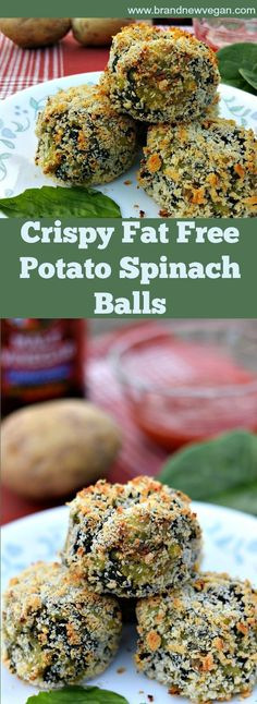These Potato Spinach Balls are Crispy & Crunchy on the Outside - Smooth & Creamy on the inside! And 100% Fat Free! Absolutely perfect for snackin'....