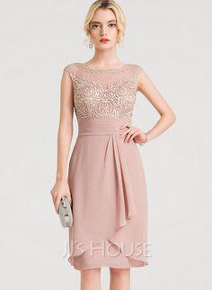 [US$ 143.00] Sheath/Column Scoop Neck Knee-Length Chiffon Cocktail Dress With Cascading Ruffles Sexy Dresses, Nice Dresses, Evening Dresses, Fashion Dresses, Formal Dresses, Long Dresses, Party Dresses, Vestidos Chiffon, Vestidos Sexy