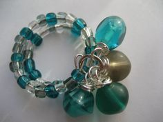 Teal Beaded Memory Wire Ring