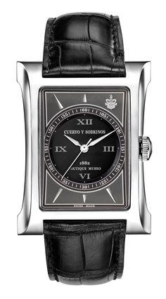 Cuervo y Sobrinos 2417.1GN Men's Watch Espléndidos Solo Tiempo Steel Grey-Black Swiss Made