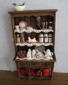 Kitchen hutch dressed  Twelfh scale by Insomesmallwayminis on Etsy, $38.50