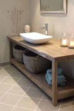 Bathroom Vanity / Vanity / Wood Vanity Custom made wood bathroom vanity. Color shown is Weathered Oa Diy Bathroom Vanity, Rustic Bathroom Vanities, Rustic Bathrooms, Wood Bathroom, Bathroom Furniture, Bathroom Interior, Modern Bathroom, Beautiful Bathrooms, Wooden Furniture