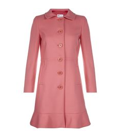 RED VALENTINO  Wool Peacoat    Red Valentino's wool peacoat in bubble pink is a delightful way to see off early spring chills. Finished with a pretty frilled hem, this coat will add a feminine finishing touch to any outfit.