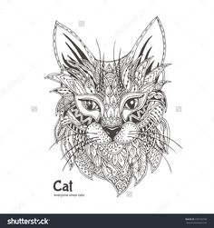 Hand-Drawn Cat With Ethnic Floral Doodle Pattern. Coloring Page - Zendala, Design For Spiritual Relaxation For Adults, Vector Illustration, Isolated On A White Background. Zen Doodles. - 439734709 : Shutterstock