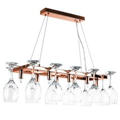 Modern suspended 8-way wine glass holder over table ceiling light fitting. This stylish light is a great alternative to a traditional ceiling light and is guaranteed to make a statement in any room. Ideal for kitchen and dining rooms. Holds up to 12 wine glasses (not included).