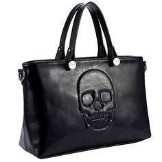 Mechaly Women's Skully Vegan Leather Skull Handbag - $49.99. https://www.tanga.com/deals/a37a73a5eeb5/mechaly-women-s-skully-vegan-leather-skull-handbag