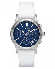 DKNY NY8191 Women's Blue Dial White Rubber Strap Chronograph Analog Date Watch