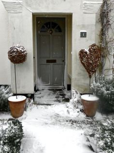 Snowy willow heart and ball alternative topiary.
