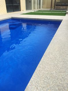 Pool Paving, Concrete Pool, Small Backyard Pools, Pool Decks, Exposed Aggregate Concrete, Pool Houses, Pool Designs, Outdoor Ideas, Outdoor Living