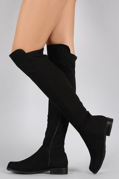 Bamboo Suede Round Toe Riding Thigh High Boot