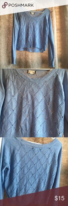 Cropped style pale blue sweater Bought from Francesca's and only worn once. Cropped style, but falls to my belly button, maybe for taller girls would be a true crop fit. Small snag on bottom of sweater as pictured! Francesca's Collections Sweaters Crew & Scoop Necks