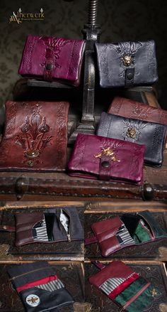 Handmade leather bags for tobacco, cell phone, wallet and and so on. Fine cowhide leather on the outside. Colored by hand and handpressed Art Nouveau / Art Deco pattern. Brass parts / stamping part...