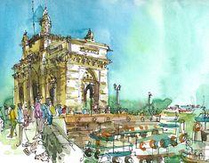 Impresión Bombay India Mumbai bosquejo, Gateway of India, boceto acuarela original