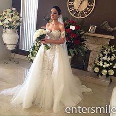 2015 Sweetheart Mermaid Detachable Train White/Ivory Bridal Gown Wedding Dress