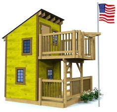 yellow playhouse plans with two porches