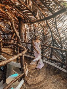 A Look Inside Azulik Tulum Treehouse Eco Resort – Tripping with my Bff Azulik Hotel Tulum, Azulik Tulum, Tulum Mexico, Bamboo Architecture, Organic Architecture, Interior Architecture, Casa Bunker, Resorts, Wooden Path