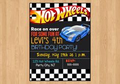 A personal favorite from my Etsy shop https://www.etsy.com/listing/279766094/hot-wheels-invitation-race-car-birthday