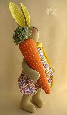 Toys are animals, handmade. Fair of Masters - handmade Carrot Roger. Sewing Crafts, Sewing Projects, Fabric Animals, Fabric Toys, Sewing Dolls, Waldorf Dolls, Soft Dolls, Soft Sculpture, Stuffed Toys Patterns