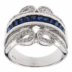 1.75 Cttw Round Diamonds and Princess Cut Blue Sapphire Cocktail Ring in 14K White Gold by GetDiamondsDirect on Etsy