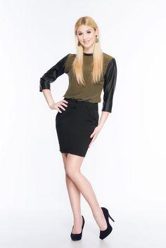 Bluzka khaki ze skórzanymi rękawami ABK0014 www.fajne-sukienki.pl Leather Skirt, Skirts, Fashion, Moda, Leather Skirts, Fashion Styles, Skirt, Fashion Illustrations