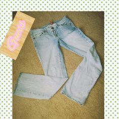 """Pale blue boot cut jeans Pale blue boot cut jeans by guess...inseam 32""""... Guess Jeans Boot Cut"""