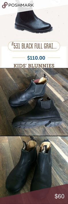"""Blundstone Full Grain Leather 'Blunnies' Boots Blundstone out of Australia 🇦🇺 full grain leather kids """"Blunnies"""". Easy slip on design with superior shock absorption. These came from the child of a client I work with in the industry. I cannot tell you who--but these shoes are likely to be seen in photos online. They have a bit of wear to the soles but a lot more to go. A few scuffs in the leather at toe area but since full grain it barely touches the depth of the leather & certainly does…"""