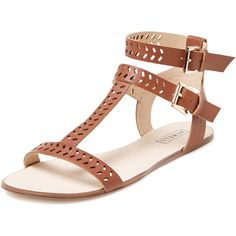 Atwell Gladys Perforated T-Strap Flat Sandal ($30) ❤ liked on Polyvore