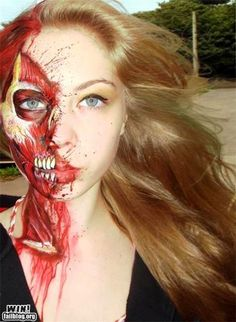 Amazing face painting job.  Do want for halloween.