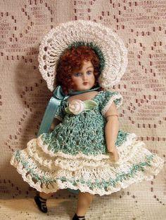 """Antique French Jumeau Style Set for 4"""" - 5"""" Doll Bisque MIGNONETTE Kestner Bru"""