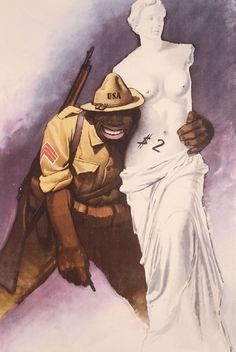Itlian - Anti-American propaganda from Italy, #WW2 - soldier is black, wide, can't stand upright, looks like a monkey, selling the Venus de Milo.