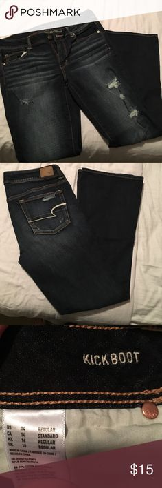 American Eagle Kickboot jeans! AE Kickboot jeans. Distressed denim, super stretch, boot cut, dark wash! Washed but never worn! I got the wrong length.                                                   💰20% off if you bundle 2 or more items!!                🚭 Smoke free home!!                                                   🚫 Sorry, no trades!!                                                  🛍 Poshmark only! No mercari or Paypal.               💋 Reasonable offers accepted!! American…