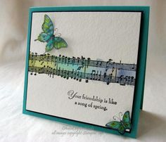 tamps: Spring Song, Music Notes (wheel), Papillon Potpourri Paper: Bermuda Bay, Basic Black, SU Vellum, Watercolour paper Paper Size: SQ ...