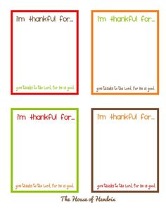 Free printable, I'm Thankful cards - quick and easy print