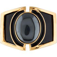 Kara by Kara Ross Hematite, Wood and Enamel Cuff ($145) ❤ liked on Polyvore featuring jewelry, bracelets, wood jewelry, gold tone jewelry, hinged bangle, enamel bangle and cuff bangle