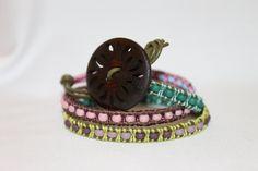 Sun Leather Wrap Bracelet by DaisysCuteAsAButton on Etsy, $35.00