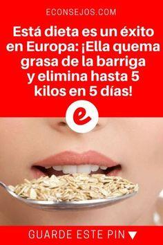 Perder 5 kilos en una semana | Está dieta es un éxito en Europa: ¡Ella quema grasa de la barriga y elimina hasta 5 kilos en 5 días! | El suceso de ésta dieta tiene una razón. Sus resultados son bastante visibles: ¡Elimina hasta 5 kilos en 5 días! Sepa cómo hacerla.