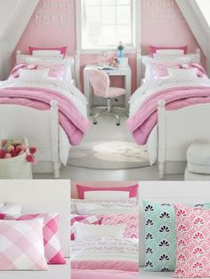 preppy style bedroom with a classic pattern and vibrant colors. #girlsbedroom #girlsdecor #preppy #ad #pinning #kidsbedroom