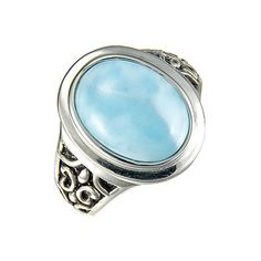 """MarahLago - Larimar Sidra Ring in Sterling Silver"" - Sparkle like the Caribbean Sea! MarahLago, the first name in Larimar jewelry, matches elegance with style in this shining sterling silver and Larimar ring."