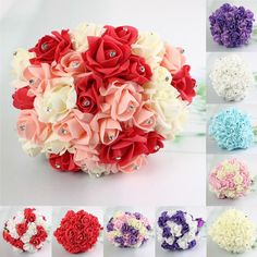 30 Heads Colourfast Foam Roses Crystal Artificial Flower Home Wedding Bride Bouquet Party. Features:  1.Bridesmaid bouquet is made of 30Roses with Crystal diamond pins at the centre. 2.Ideal for wedding,  party,  office decoration, decor,  altar,  church, corsages,  pew bows,  reception centerpieces. 3.Vivid, Durable, Light Weight, you can keep it for a long time. Specifications:  Material:  Foam Rose Crystal diamond Color: Ivory,  Blue,  White,  Purple,  Red,  Red Ivory Orange(#01),  Ivory…