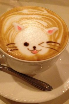 Cat Latte Art. Coffee